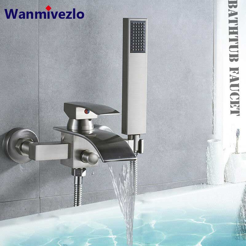 brushed nickel waterfall bathtub faucet wall mounted tub tap hot cold water mixer tap bath shower faucet tap robinet baignoire