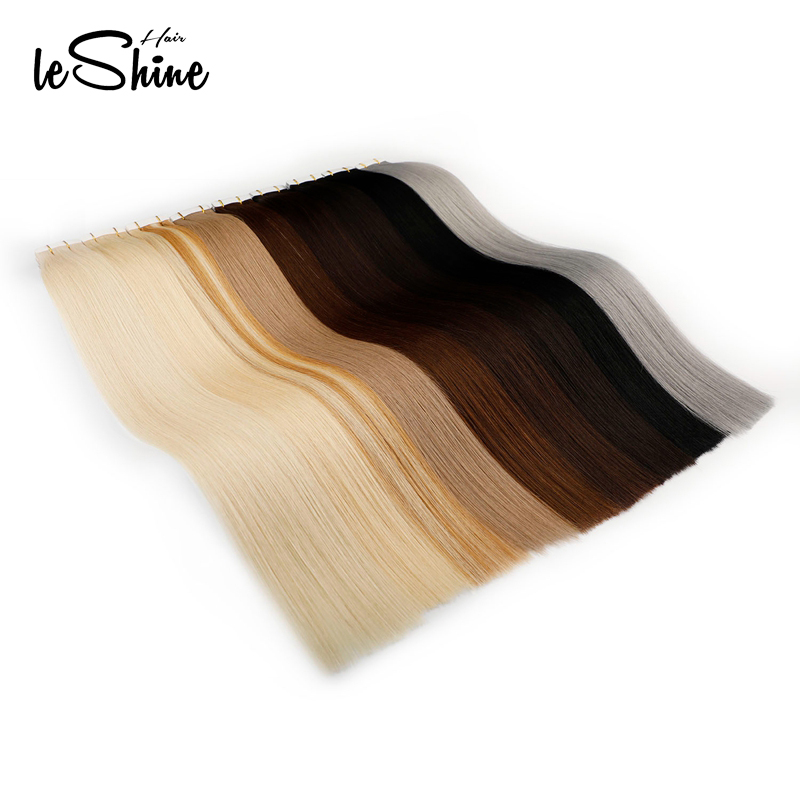 Leshine Real Rmey Tape In Human Hair Extensions Skin Weft Hair Extensions 14''18''20'' Russian Hair Good Stright Hair Color 60#