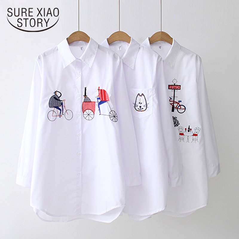2019 New White Shirt Casual Button Up Turn Down Collar Female Blouse Long Sleeve Cotton Blouse Embroidery Blouse Lady 5083 50