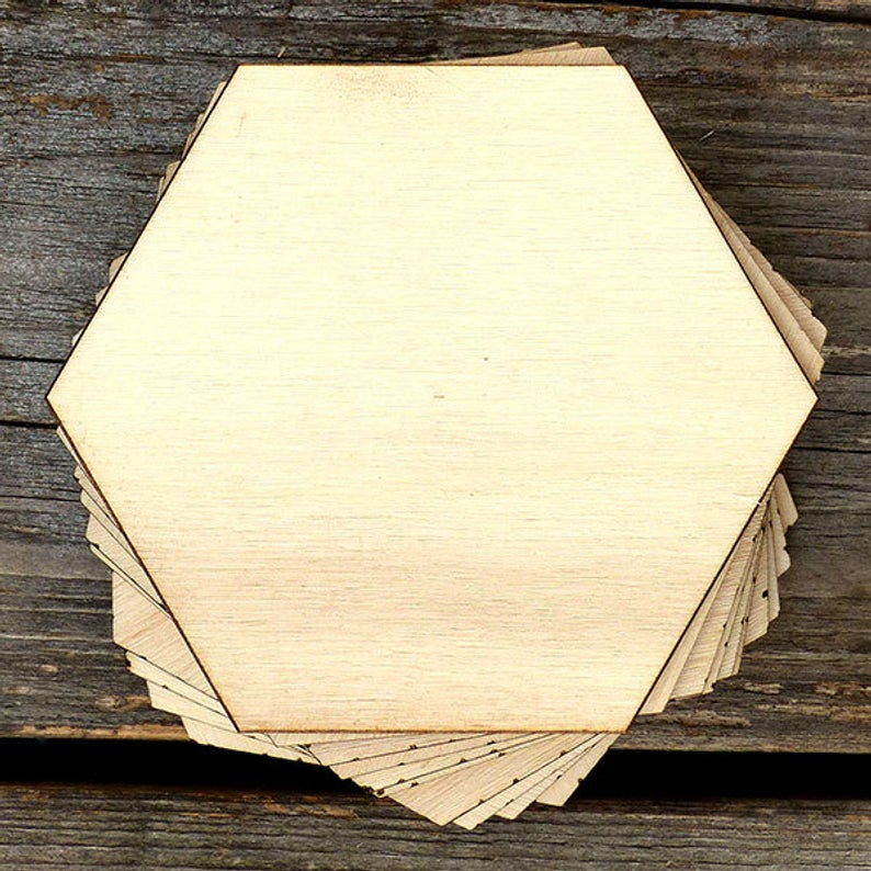 Wooden Plain Hexagon Craft Shapes  Plywood