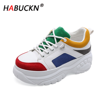 HABUCKN 2020 New Fashion Women Casual Shoes Leather Platform Shoes Women rainbow Color matching Sneakers Ladies White Trainers