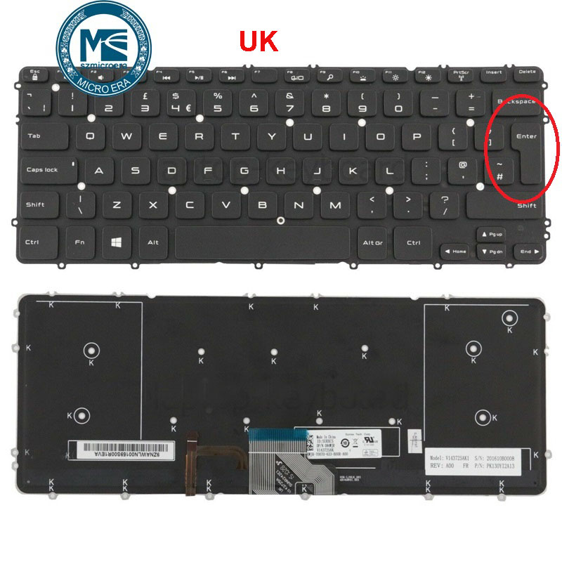 keyboard For Dell Precision M3800 XPS 15 9530 with backlight UK layout-in Replacement Keyboards from Computer & Office on