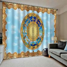 Custom curtains High quality custom 3d curtain fabric  blue Blackout