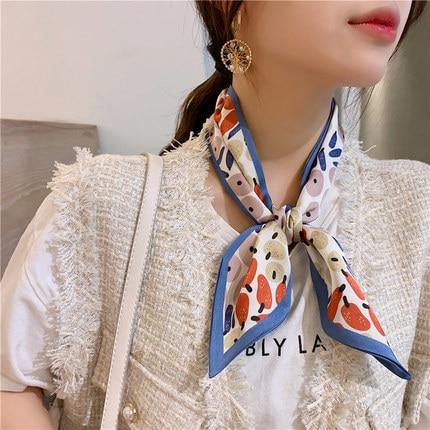 2020  Ins New Carf Silk Scarf Female Thin Streamers Wild Reed Versatile Decorative Ribbon Women Skinny Scarf