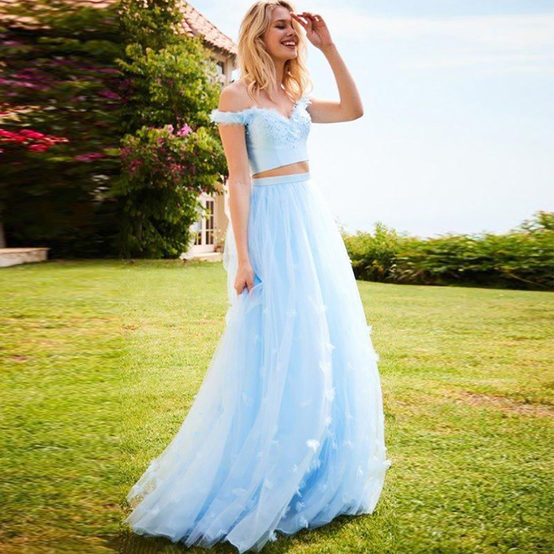 Verngo Crop Top Evening Dresses Long Blue Flowers Formal Dress Elegant Off The Shoulder Prom Dress Lace Party Gowns
