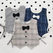 Japanese Style Cute Bow-tie Baby Bibs Boys Blouse Cotton Waterproof Newborn Drooling Saliva Towel Children Fake Collar Apron