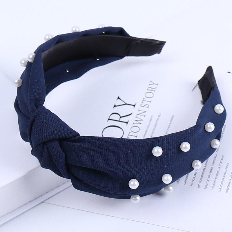 Couleur unie noeud bandeaux pour femmes Simple tissu filles bandeau femmes cheveux accessoires large côté bandeau 23