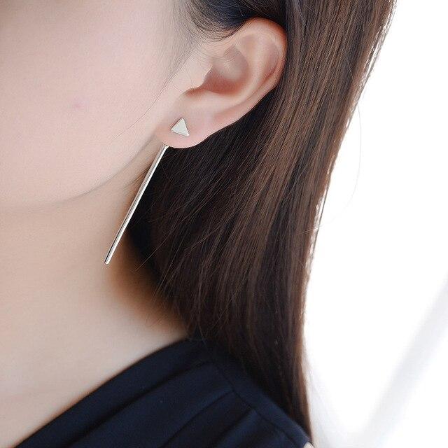 Фото модные женские длинные треугольные серьги гвоздики из стерлингового цена
