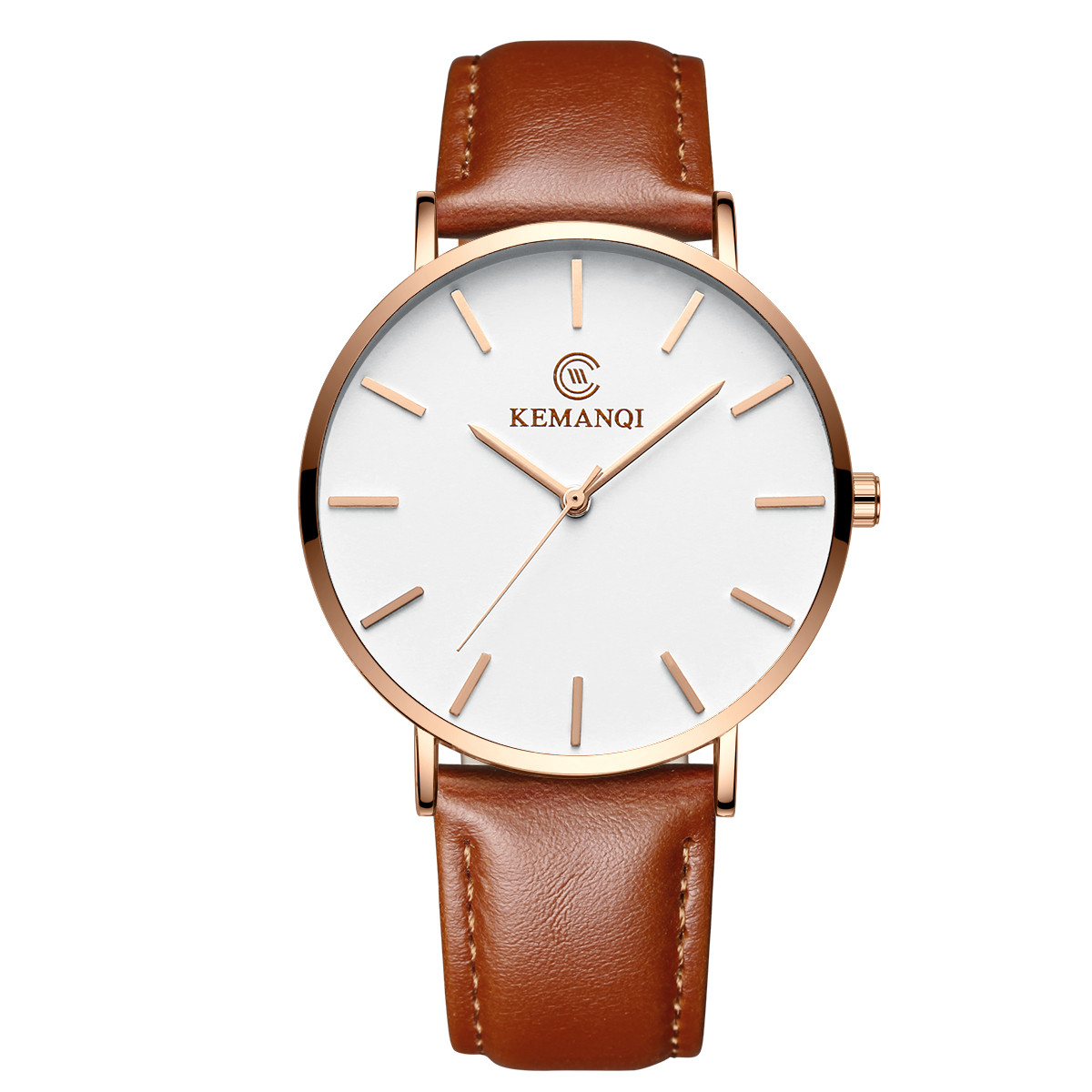 Мужские ультратонкие кварцевые часы Kemanqi, роскошные деловые простые кожаные часы для мужчин, 7 мм