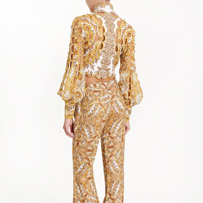 Nouveau travail lourd évidé lanterne manches doré Court paiement reçu taille chemise Blouse femmes - 4