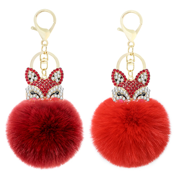 Cute mini fox fur ball keychain handmade fluffy fur pompom ball inlaid rhinestone lady bag accessories car key ring pendant