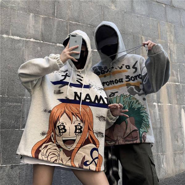 Fashion Men Women Fleece One Piece Hoodies Comic Printing Sweatshirts Loose Hip Hop Streetwear Style Autumn Winter Casual Coat