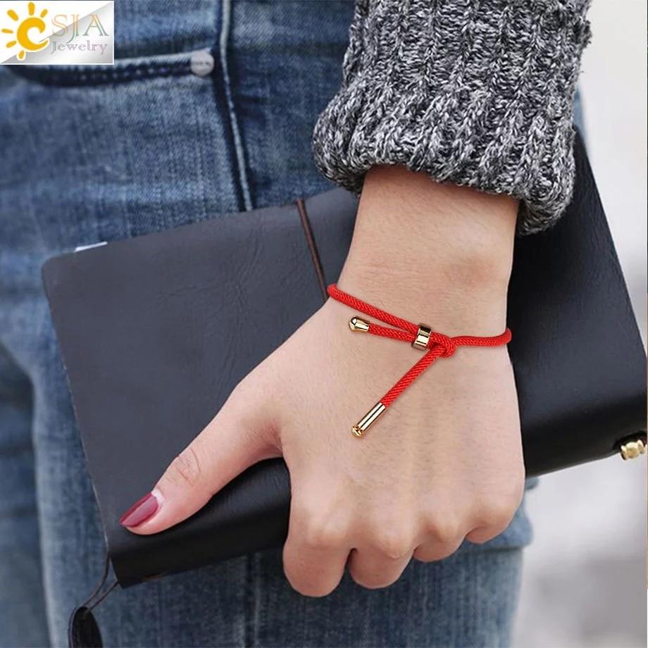 CSJA Red Bracelets for Lucky Rope Chain Friendship Femme Braided String Bracelet Pulseras Mujer Moda 2020 Lover Gift Women S512