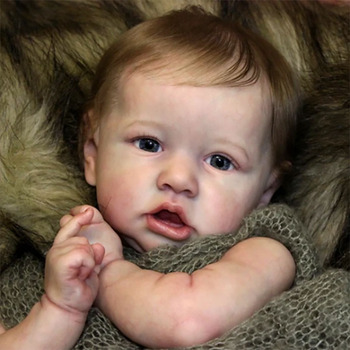55 cm Reborn Baby Doll With Crooked Mouth  Rebirth Doll Realistic lifelike Toddler Babies Boneca Soft Real Touch Full Silicone 2015 new design 24inch reborn toddler baby doll rooted human hair fridolin lifelike sweet girl real gentle touch