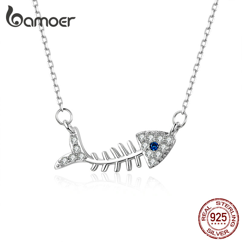 Bamoer 100% Real 925 Sterling Silver Fish Bone Short Chain Choker Necklace For Women Clear CZ Luxury Crystal Jewelry SCN376