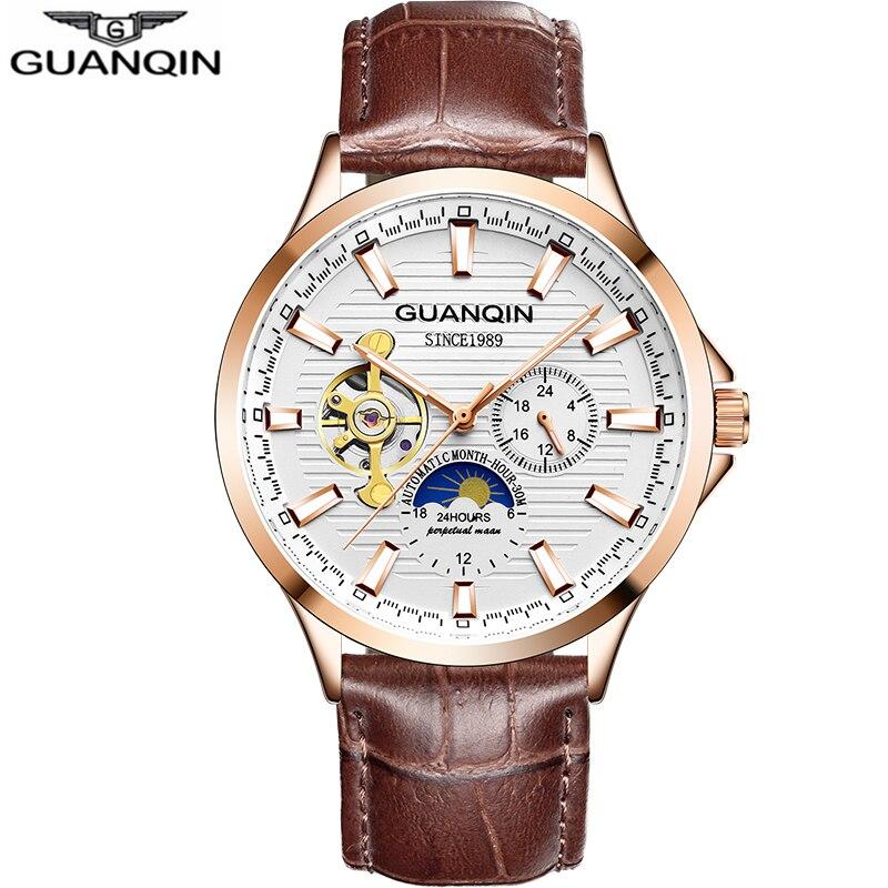 GUANQIN 2020 new watch men waterproof Automatic Luminous men watches top brand luxury skeleton clock men leather erkek kol saati