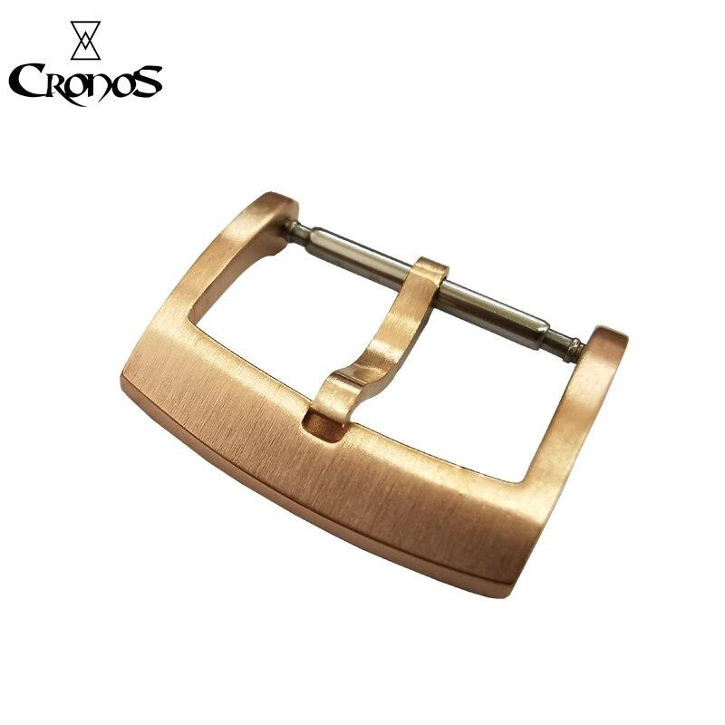 Cronos Solide Bronze CuSn Zunge Schnalle für L6002M Uhr Teile Voll Gebürstet 18 20 22 mm 2,0 mit Frühling Bars