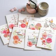 Cartão feito à mão do cartão da flor do vintage