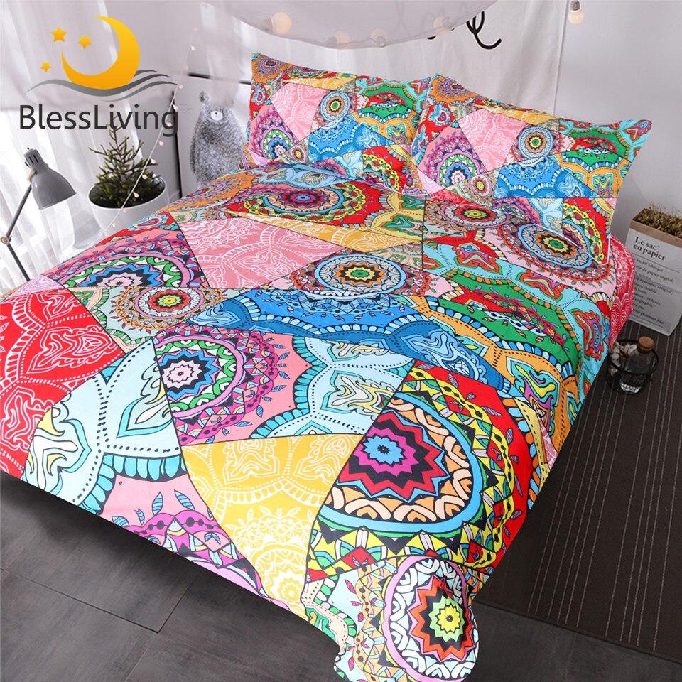 BlessLiving Mandala Bedding Set Red Pink Boho Flowers Patchwork Duvet Cover Set Queen For Adults Girls Colorful Bed Cover 3pcs