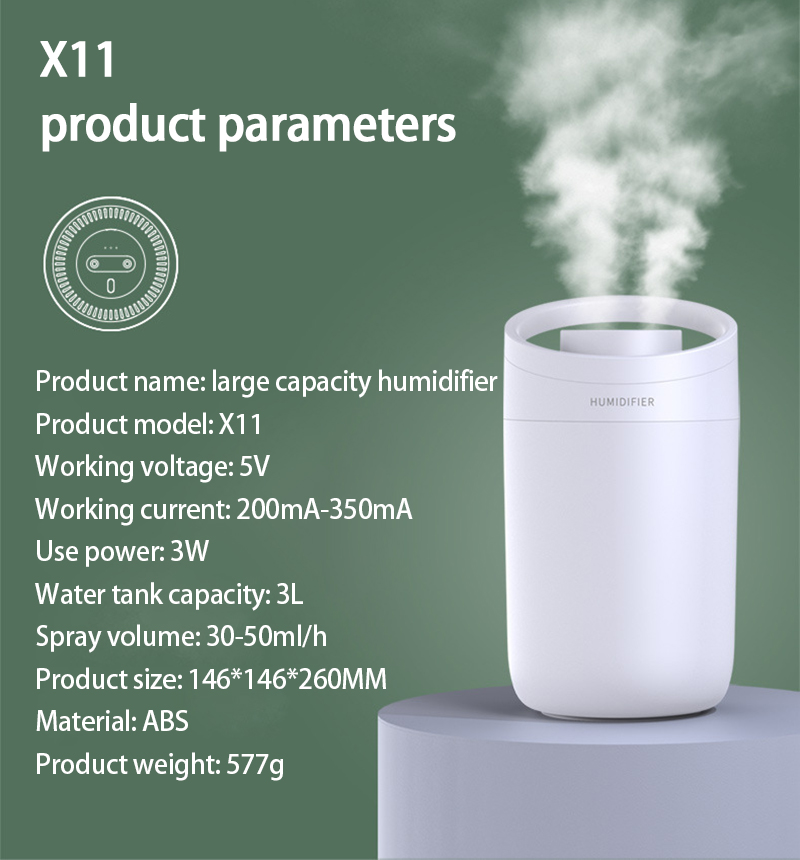 1Pcs Air Humidifier 3L large-capacity Air Purifier For Home Bedroom Portable Water-adding Office Double-Jet Humidifier Sprayers-0