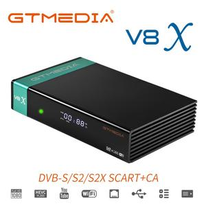 Итальянский португальский спутниковый ТВ приемник GTMEDIA V8X DVBS/S2/S2X поддержка CCCamd IPTV встроенный Wi-Fi H.265 smart Media play TV box