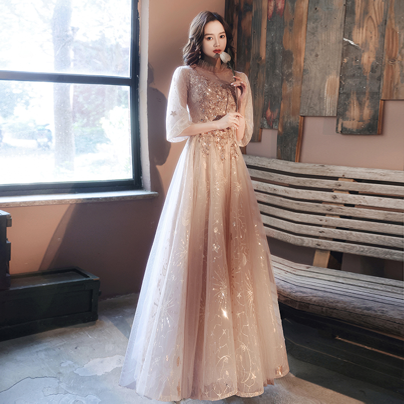FDHAOLU FU897 Evening Dress 2021 New Stylish Illusion O neck Appliques Crytal Formal Dress a Line Prom Dresses Haute Couture