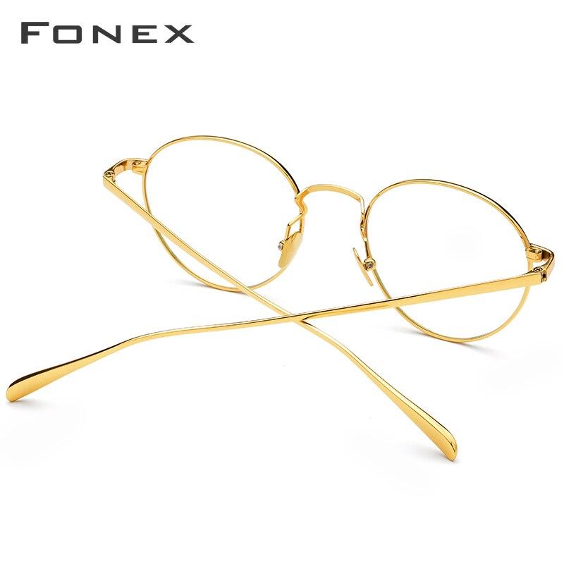 FONEX gafas de prescripción de titanio puro para hombres gafas de miopía redondas Vintage montura para mujeres gafas ovaladas Retro 893 - 3