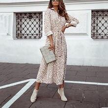 Lunares Vintage Vestido de mujer leopardo Chiffon manga larga de fiesta Casual Vestido tipo Bohemia Blanco Женское Платье Harajuku vestidos