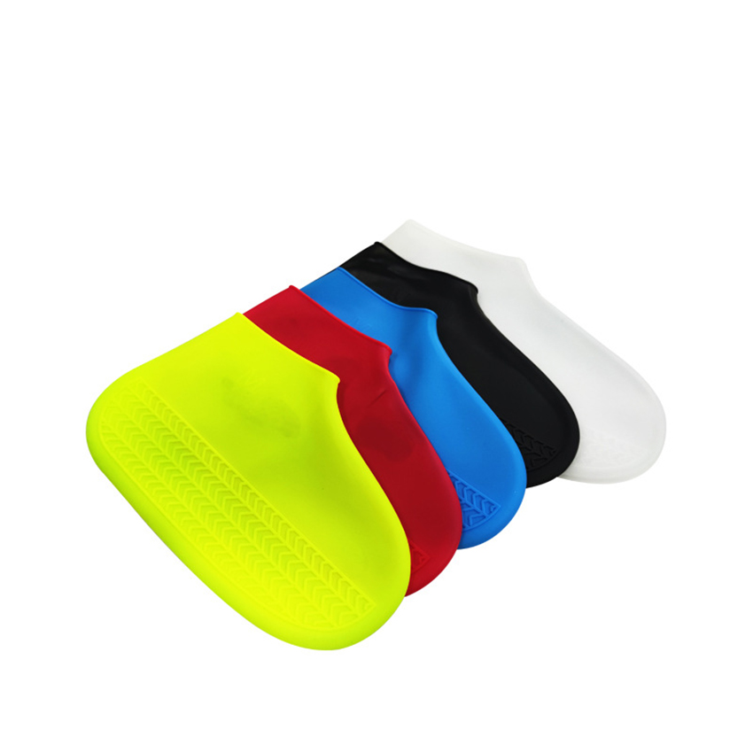 1 Pair Waterproof Silicone Shoe Covers Portable Reusable Non-slip Outdoor Shoes Protective Cover Protectors Universal Feet Cover