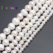 Perles naturelles d'eau douce, rondes, perles blanches, 4mm, 6mm, 8mm, 9mm, 10mm, 11mm, 15 pouces, pour la fabrication de bijoux, vente en gros