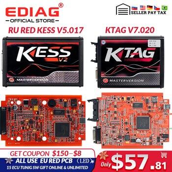 Online EU Red Kess V5.017 V2.53 OBD2 Manager Tuning Kit KTAG V2.25 V7.020 4 LED Kess V2 5.017 BDM Frame ECU Programmer