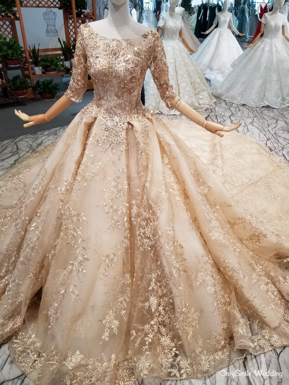 Glitter Gold Luxury Wedding Dresses Half Sleeves Arabic Ball Gown Sequins  Beading 100% Real Photos Saudi Arabia wedding gowns
