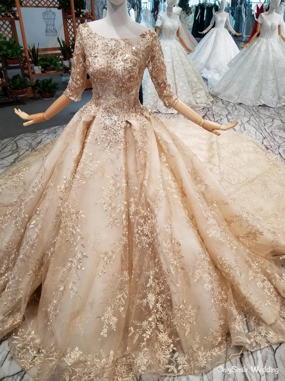 Glitter Gold Luxury Wedding Dresses Half Sleeves Arabic Ball Gown Sequins  Beading 20 Real Photos Saudi Arabia wedding gowns