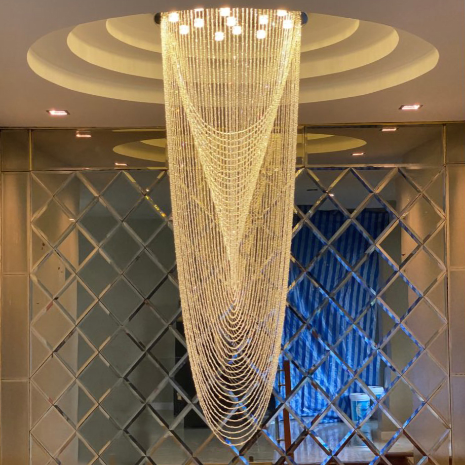 Modern Chandelier Lighting Crystal Chain Design Living Room Hanging Lamp Large Hallway Staircase Luxury Cristal Light Fixtures