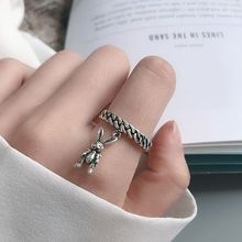 Silvology 925 Sterling Silver Chain Rabbit Rings Vintage Creative Korea Style Weave for Women New Fashion Festival Jewelry