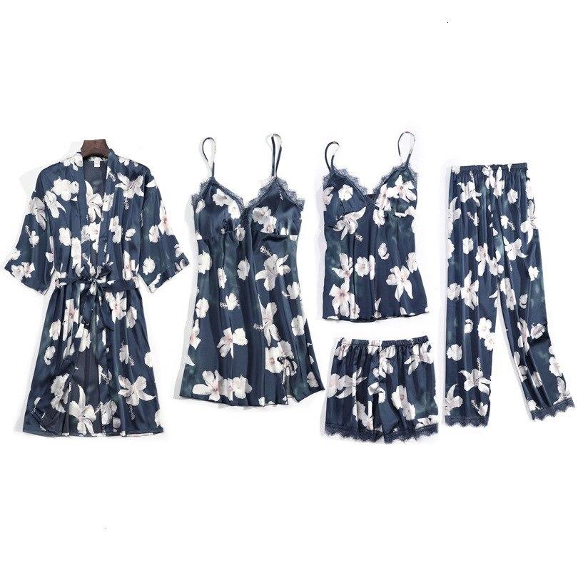 Winter New Sexy Ice Silk 5 Pcs Pajamas Stain Printing Flower Fashion Sleepwear With Chest Pad Spaghetti Strap Nightwear