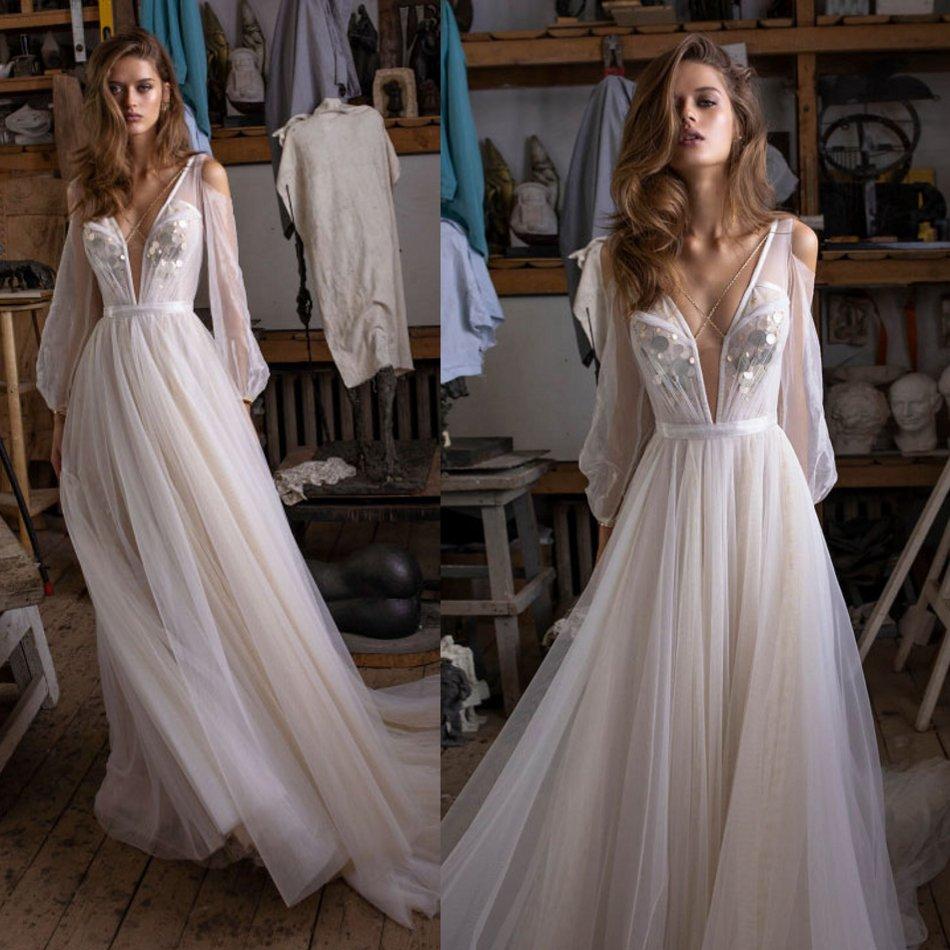 2020 Wedding Dresses Sexy Deep V Neck Lace Bridal Gowns Long Sleeves Sweep Train Beach A-Line Wedding Dress Vestido De Novia