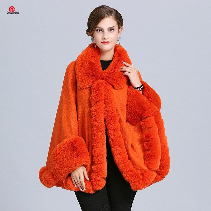 EuropeStyle Lapel Handcraft Wave Fox Fur Cape Coat Loose Knit Cashmere Jacket Shawl Faux Fur Cloak Cardigna Women Fall Winter