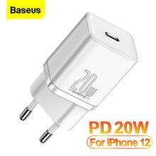 Baseus-cargador USB tipo C de carga rápida, cargador de pared PD de 20W, QC3.0 QC, para iPhone 12 Pro, Samsung, Xiaomi