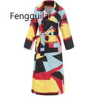 Women Wool Trench Coat Aautumn Office Ladies Causal Plus Size Loose Color Blocks Sashes Long Overcoat Designer Fahion Coat 3XL