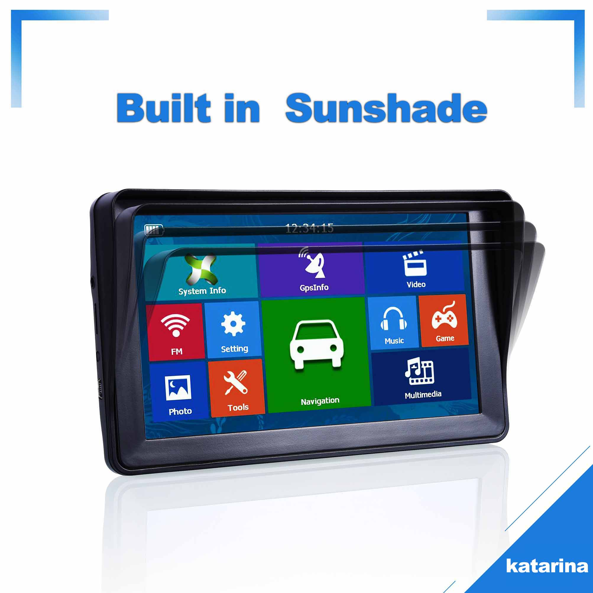 Katarina Car GPS Navigation Truck-Map Bluetooth Europe 256MB 7inch 8G Sunshade Vehicle title=