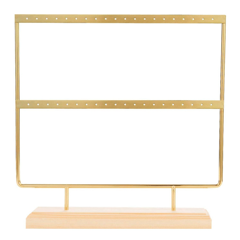 Gold Earring Stand Ear Stud Holder Wood Earring Holder Jewelry Holder Rack Jewelry Stand Display With Tray/Dish For Earrings Nec