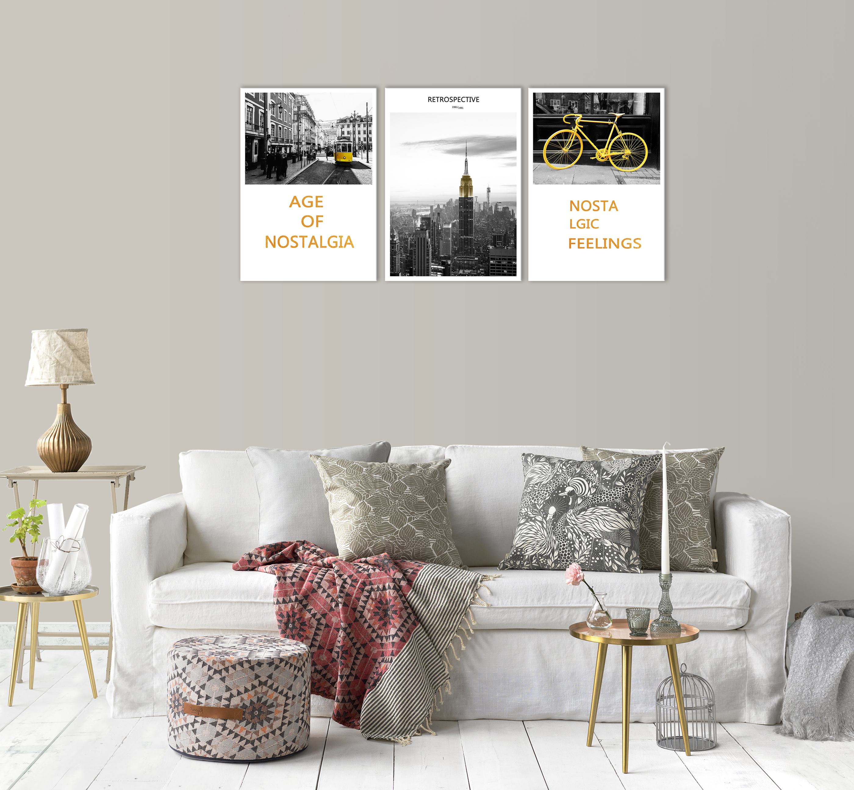 Black and White Yellow New York City Skyline Wall Art Decor Building Tarm Bicycle Canvas Painting Print Pictures for Living Room in Painting Calligraphy from Home Garden