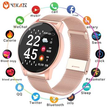 W8 inteligentny zegarek okrągły kobiety wodoodporna inteligentny zegarek mężczyźni kobiety opaska monitorująca aktywność fizyczną Monitor ciśnienia krwi dla Android IOS inteligentny zegar tanie i dobre opinie YIKAZE CN (pochodzenie) Na nadgarstek Zgodna ze wszystkimi 128 MB Krokomierz Wiadomości z przypomnieniami tydzień