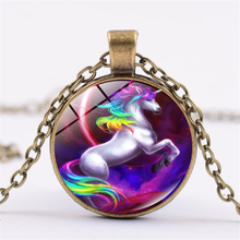 Rainbow flying horse unicorn time jewel necklace free shipping alloy pendant vintage sweater chain