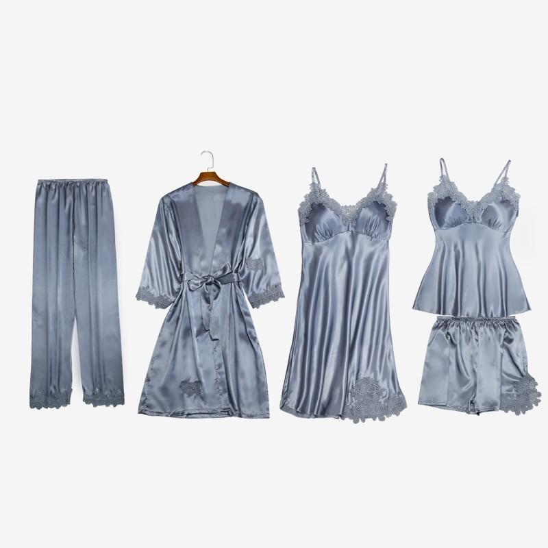 Sleepwear Suit Satin Home Nightgowns Bathrobes New Pink Kimono Ladies Bathrobe Robe Silk Sexy Women Robe Plus Size Lace Lingerie