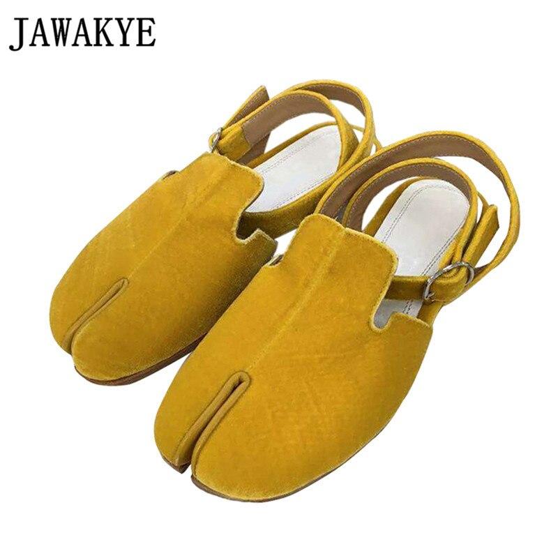 Velvet Split Toe flat Shoes Women real leather Slingback runway Causal Shoes Ankle Buckle lazy Loafers split toe sandals|Women's Flats| |  - title=