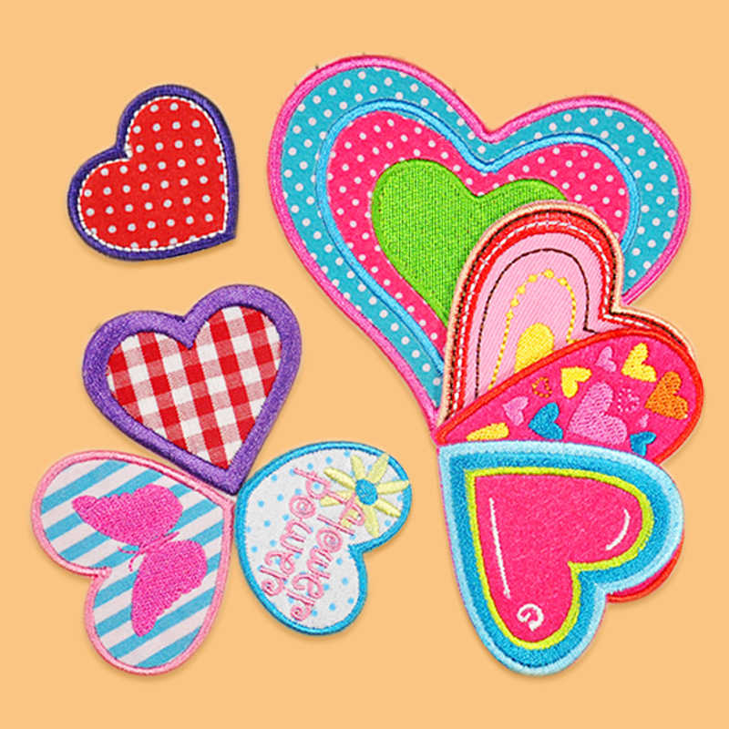 Love Heart Iron On Sewing On Patches Badge Appliques Clothes Sticker