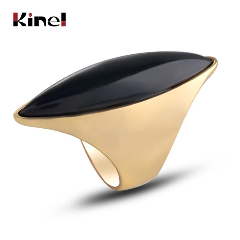 Kinel Hot Black Stone Big Ring For Women Luxury Gold Color Engagement Party Rings Fashion Jewelry Best Gift 2020 New