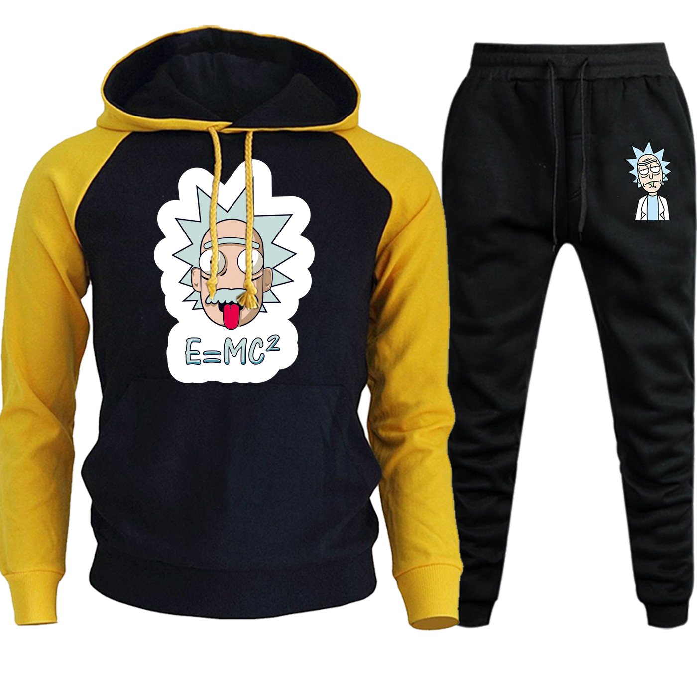 Rick And Morty New Autumn Winter 2019 Hoodies Men Raglan Streetwear Cartoon Printed Suit Casual Fleece Hooded+Pants 2 Piece Set